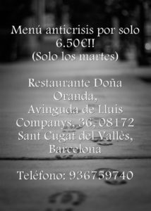 Menú barato en sant cugat en el restaurante cubano doña oranda