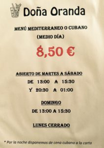 Menú cubano en el restaurante Doña Oranda